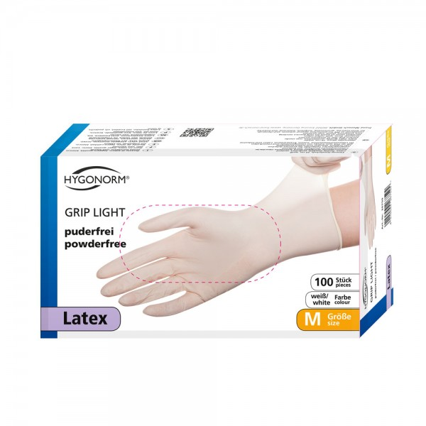 Latex-Handschuhe Hygonorm Grip Light - puderfrei - Gr. M - VE 100 Stück