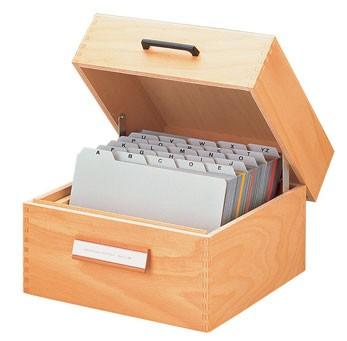 Karteikasten DIN A5 quer - Holz - mit Deckel