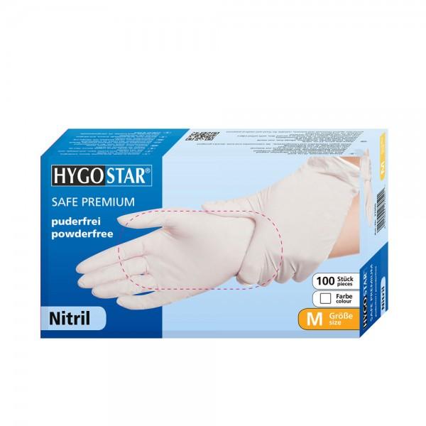 Nitril-Handschuhe Hygostar Safe Premium - puderfrei - Gr. M - VE 100 Stück