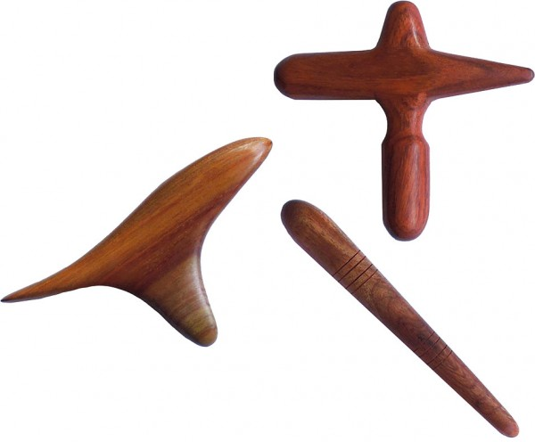 Massagewerkzeuge - Basis-Set - 3-teilig - Holz