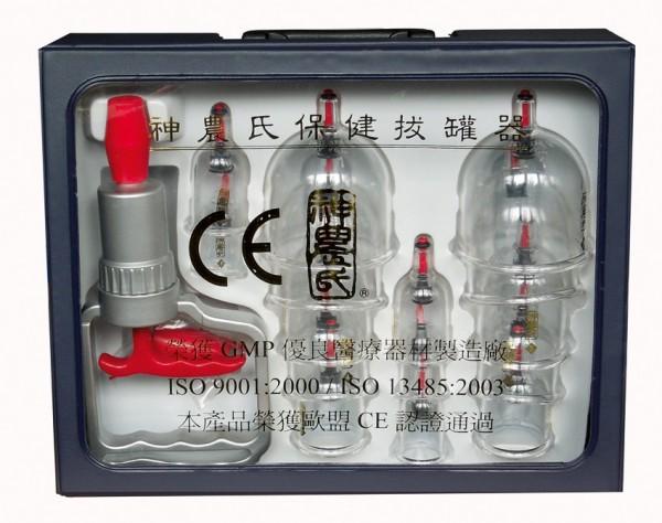 Schröpfglas-Set - Shen Long - mit Vakuumpumpe
